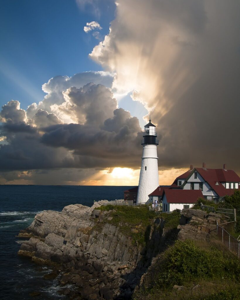 lighthouse, cliff, sea